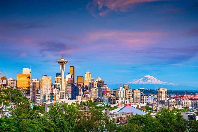 Seattle Skyline, featuring the Space Needle and Mt. Rainier